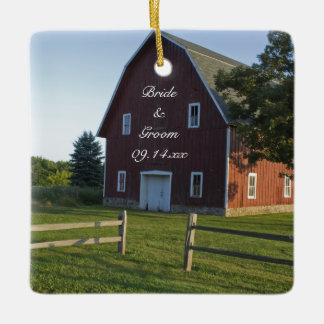 Red Barn with Fence Country Engagement Ceramic Ornament
