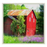 RED BARN WITH FLOWERS POSTER