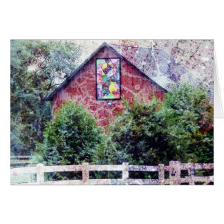 Red Barn With Quilt Grunge Card