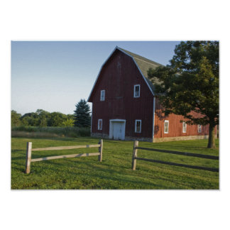 Red Barn with Wooden Fence Poster