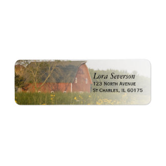 Red Barn with Yellow Wildflowers Return Address Label