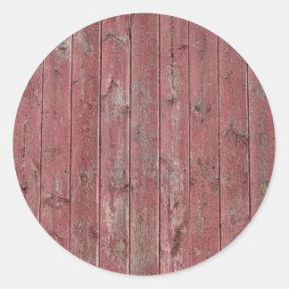 Red Barn Wood Classic Round Sticker