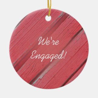 Red Barn Wood Country Engagement Ornament