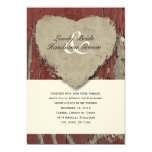 Red Barn Wood Country Rustic Heart Wedding Card