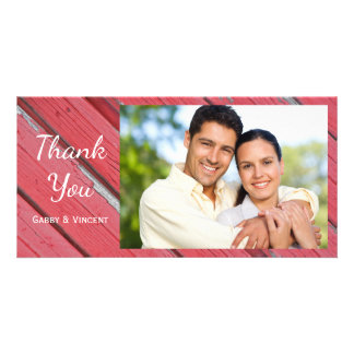 Red Barn Wood Country Thank You Photo Card