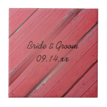 Red Barn Wood Country Wedding Ceramic Tile