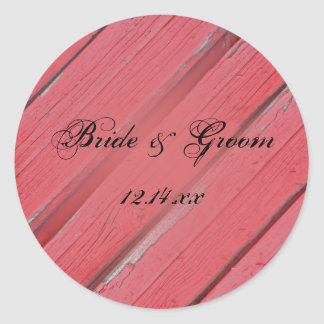 Red Barn Wood Country Wedding Envelope Seals Classic Round Sticker
