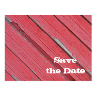 Red Barn Wood Country Wedding Save the Date Post Card