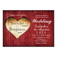 Red Barn Wood Heart Country Wedding Invitations