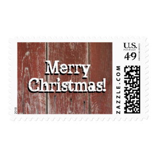 Red Barn Wood Merry Christmas Postage Stamp