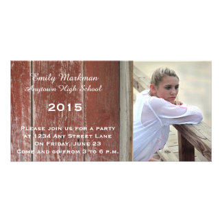 Red Barn Wood Photo Graduation Announcement Party Photo Card