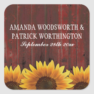Red Barn Wood Rustic Sunflower Wedding Favors Square Sticker