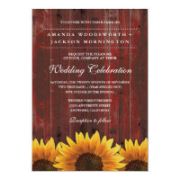 Red Barn Wood Rustic Sunflower Wedding Invitations (<em>$1.80</em>)
