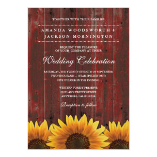 Red Barn Wood Rustic Sunflower Wedding Invitations