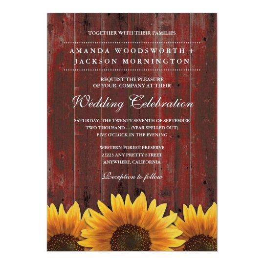 Red Barn Wood Rustic Sunflower Wedding Invitations Zazzlecom