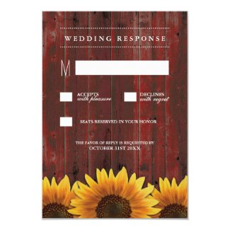 Red Barn Wood Rustic Sunflower Wedding RSVP Cards