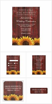 Red Barn Wood Rustic Sunflower Wedding Suite