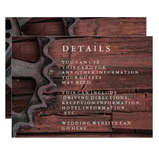 Red Barn Wood Rustic Wheel Wedding Details Card