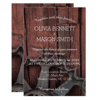 Red Barn Wood Rustic Wheel Wedding Invitations