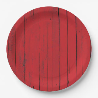 Red Barn Wood Siding Farmhouse Paper Plate