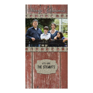 Red Barn Wood Silver Country Photo Christmas Card