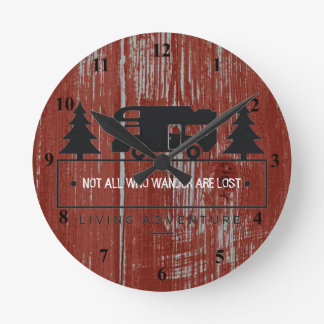 Red Barn Wood | Travel Quote Not All Who Wander Round Clock