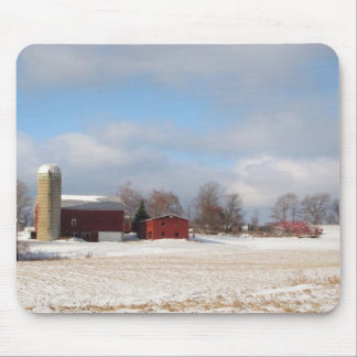 Red Barns in Winter Mouse Pad