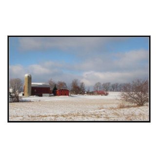 Red Barns in Winter Posters