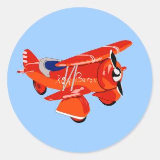 Red Baron Biplane Classic Round Sticker