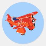 Red Baron Biplane Round Sticker