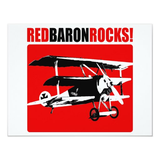 Red Baron Rocks! 4.25x5.5 Paper Invitation Card