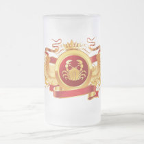 "Red Baron ""Zodiac Cancer"" 16 oz Frosted Glass Mug"