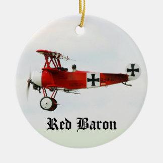 Red Baron's World War I Fokker Triplane Ceramic Ornament