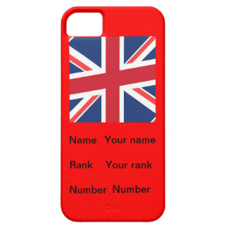 Red base British flag with Name, Rank and Number iPhone 5 Cases