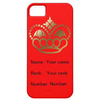 Red base crown  with Name, Rank and Number iPhone 5 Covers