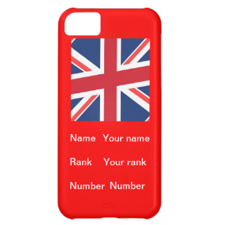 Red base Union flag with Name, Rank and Number iPhone 5C Case
