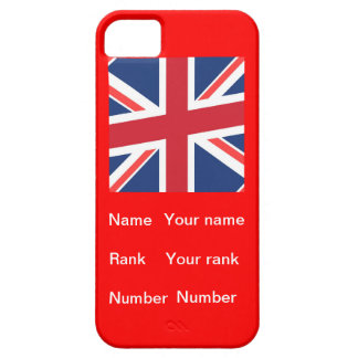 Red base Union flag with Name, Rank and Number iPhone SE/5/5s Case