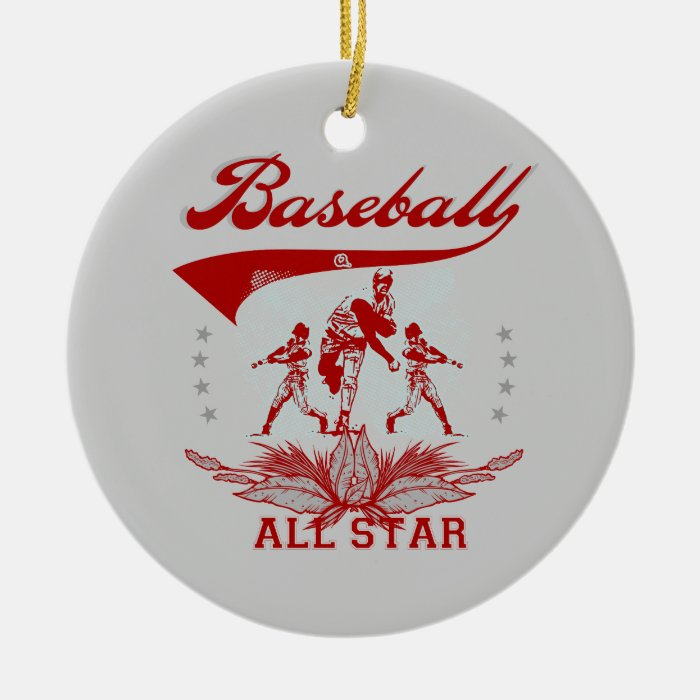 Red baseball all star t shirts and gifts ceramic ornament for All star t shirts