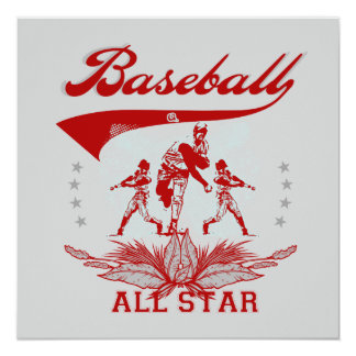 Red Baseball All Star T-shirts and Gifts Invitation