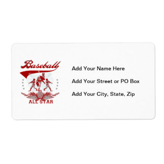 Red Baseball All Star T-shirts and Gifts Shipping Label