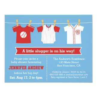 Red Baseball baby boy shower party invitation