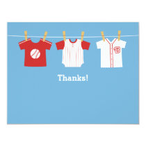 Red Baseball baby boy shower Thank You Note Cards