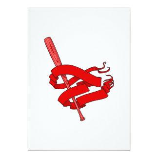 red baseball bat logo 5x7 paper invitation card