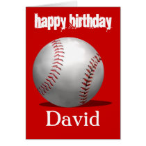 Red Baseball Birthday Card