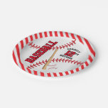 Red Baseball Birthday Design | Personalize Paper Plate