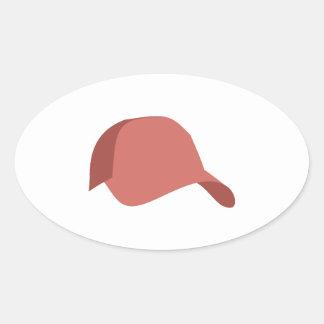 Red baseball cap oval sticker