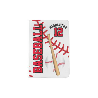 Red Baseball Design | Personalize Passport Holder