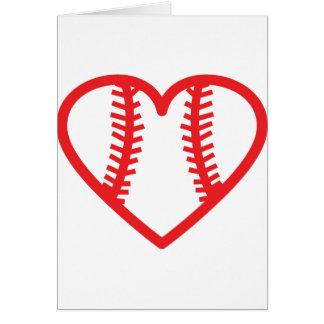 red baseball heart love card