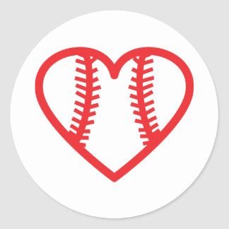 red baseball heart love classic round sticker