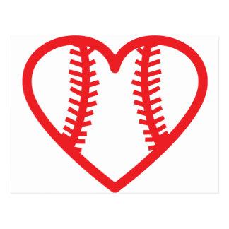 red baseball heart love postcard